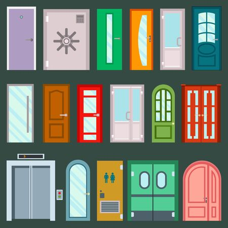 doors design furniture elements doorway front entrance to house building in flat style doorstep illustration isolated on background. House elements
