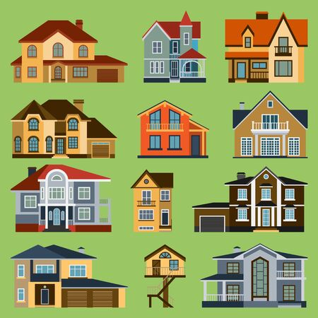 City town house facade face side street view city modern world house building cartoon architecture illustration. Cottage residential construction cityscape houses