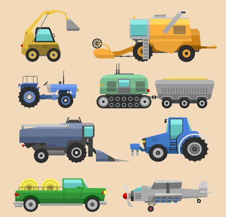 Agricultural vehicles harvester tractor machine, combines and excavators. Icon set agricultural harvester machine with accessories for plowing, mowing, planting and harvesting tractors Stockfoto
