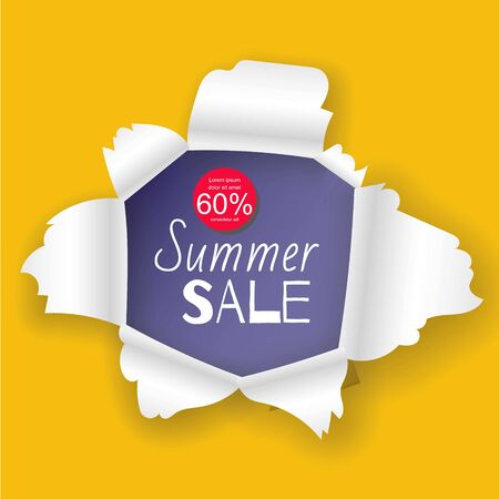 Summer sale banner in the realistic torn paper hole vector illustration design. Yellow background and blue detailed paper hole with white torn edges. Çizim
