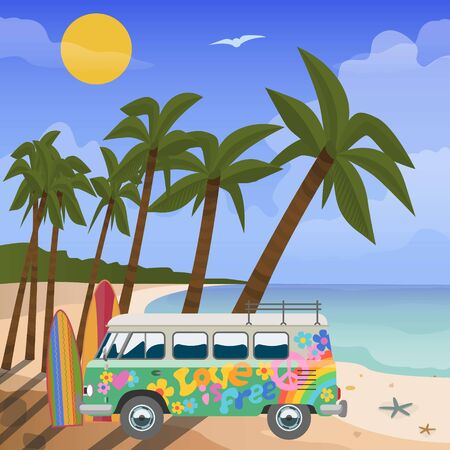 Summer travel in tropics vector, illustration. Sea view in summer with water play equipment, beach, tropical palms and colorful painted bus. Blue sea and summer travel vacation. Stok Fotoğraf - 127333822