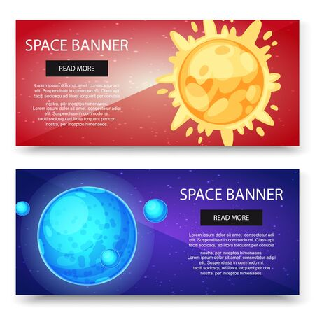 Space cosmos and solar system planets vector banners set. Blue planet with satellite and sun on red galaxy background. Space decoration for your design. Stars and comets on dark background Ilustracja