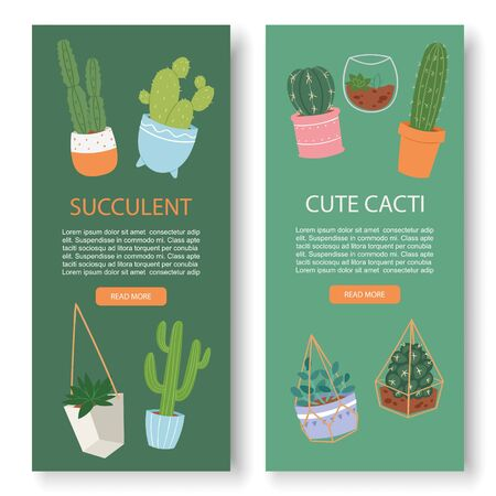 Succulents and cactus vertical botanical vector banners. Greenery lush, cacti, succulents, leaves, herbs in pottery and aquarium. Natural spring card on green background.