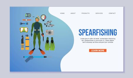 Spearfishing and diving vector illustration isolated on white. Scuba diver in a diving suit and fins, fish, spearfishing equipment. Swimming underwater web template.