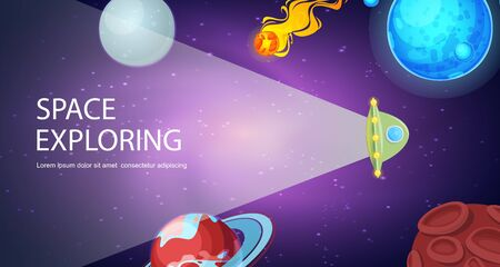 Flying spaceship in cosmos universe with planets, asteroids vector illustration. Spacecraft in solar system with earth , saturn, moon and pluto space exploring background. Çizim