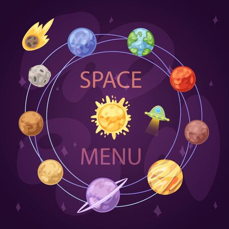 Solar System with planets, spaceship and asteroid belt on dark background cartoon vector illustration. Space and planetary solar system exploring poster Ilustração