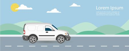 Van car free and fast delivery to customer on road background vector illustration. Van riding on highway with blue sky and green hills.