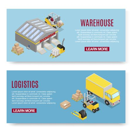 Warehouse isometric vector illustration with storage building shelves, loader and boxes transportation on blue background. Logistics and warehousing transport banners.
