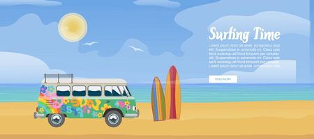 Surfing van on the sandy beach, surfboard, sea waves and clear sunny day vector illustration. Surf bus poster design for sport vacation with typography.