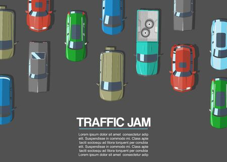Traffic jam and urban transport vector illustration. Road top view with highways many different cars and vehicles. City infrastructure with transportation traffic jam design elements.