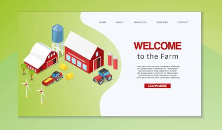 Farm isometric with rural buildings agricultural machinery, wind mills and silos vector illustration. Farming webpage. Welcome to farmer household.