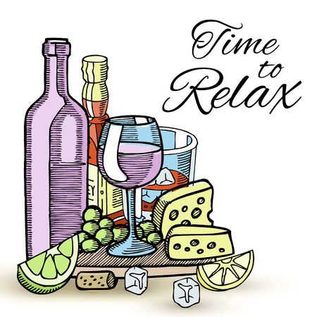 Bottles of wine and glasses with various alcoholic drinks, cheese, grapes and slice of lemon sketch vector illustration. Drinking wine establishment. Time to relax or celebration ceremony. Çizim
