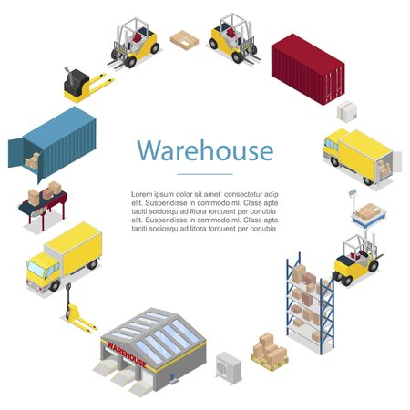 Warehouse, cargo transportation icons in circle vector poster. Warehouse shipping and delivery, transportation of goods, trucks, forklift with containers and delivery boxes.