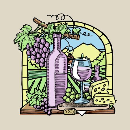 Bottle of wine, two glasses, parmesan cheese, grapes and leaves in window sketch vector illustration. Hand drawn engraving style. Banners of wine vintage background.