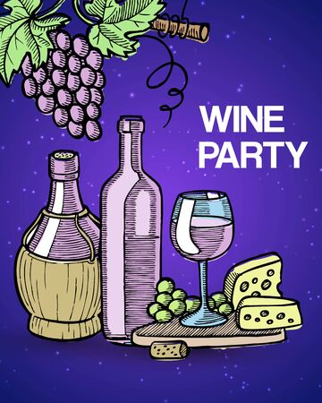 Wine tasting party vector illustration with vintage sketch glass and old bottles of wine, grapes and cheese. Degustation in wineshop invitation.