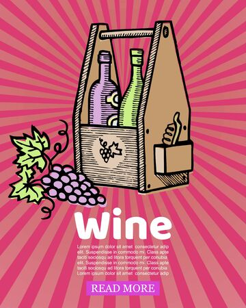Bottles of wine in wooden crate and winery grapes on retro stripped background vector illustration. Box of old wine vintage sketch drawing Stok Fotoğraf - 127791376