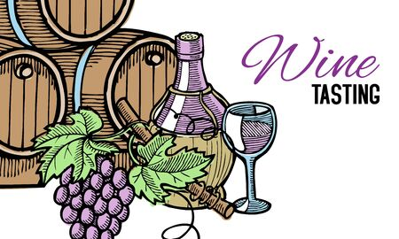 Wine barrel, hand drawn, with grape vines around it, bottle of wine and glass, isolated on white vector illustration. Winery tasting invitation.
