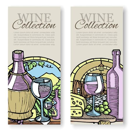 Winemaking and grapes vintage sketch vector set of templates packaging wine, label, identity or branding. Winery hand drawn illustration with grapes, bottles of wine and cheese.