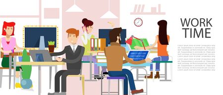 Office business working people vector illustration. E-commerce, worktime management, start up and digital marketing business concept. Time at work in office. Teamwork concept Stok Fotoğraf - 127791382