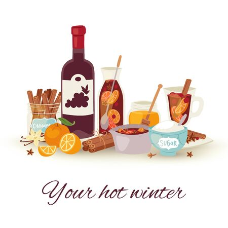 Mulled wine winter and Christmas hot drink vector illustration. Mulledwine cocktail with spices anise, citrus fruit and cinnamon winter holidays beverage. Alcohol winebowl glass and bottle. Çizim