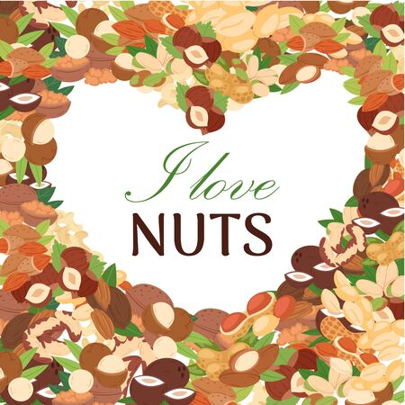 Nuts vector poster. Peanut or coconut and hazelnut, pistachio or almond, walnut and macadamia in form of heart. I love nuts lettering illustration. Stok Fotoğraf - 127608045