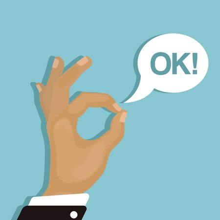 Ok sign. Hand of cartoon character with okay gesture and text burst box vector illustration. All right agreement sign. Blue background yes poster.