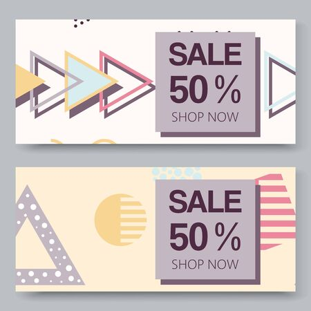 Sale vector banner with halftone geometric shapes set juxtaposed with triangle elements composition. Constructivism design elements for magazine, leaflet, billboard, sales.
