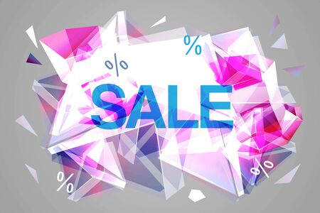 Vector sale facet crystal banner. 3d abstract shape poster, card, advertising. Rose color winter wholesale concept with ice crystal, explosion. Christmas, new year saler offer. Ilustracja