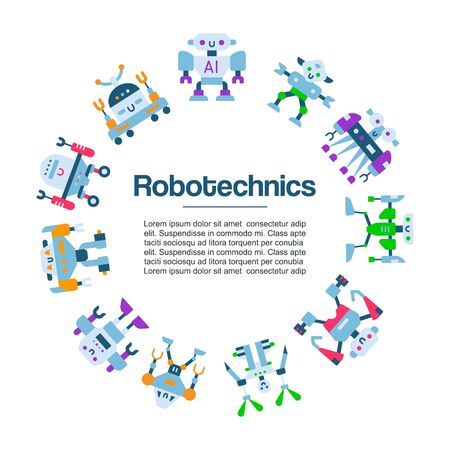 Robot toys icons vector poster. Robotic machine technology. Robocop cartoon charactes. Intelligence robotechnic illustration isolated on white background.