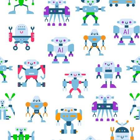 Cute toy robots with antennas and wires seamless vector pattern. Kids toy colorful and metal robotic background for boys. Robototechnical concept.