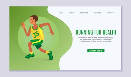 Running young man vector illustration. Online fitness exercise, webpage decorated by man in run for health. Runner in green and yellow sport cloths on green background web page. Ilustracja