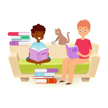 Small kids holding open books and reading vector illustration. Black skinned african boy and caucasian teen boy sitting on sofa with pile of books and a kitten. Love to read literature and knowledge.