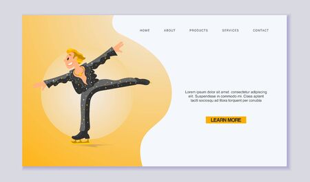 Figure Scating vector web template. Olympic species of skate events. Winter sports games for web, landing pages and internet. Young proffecional skater in black stary costume on ice Stok Fotoğraf - 127791385