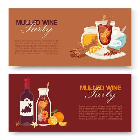 Glühwein winter drankje vector banners. Alcoholdrankillustratie met fles wijn, glas met fruit, kruiden, specerijen. Smaak van Kerstmis. Vintage glühwein feest. Vector Illustratie