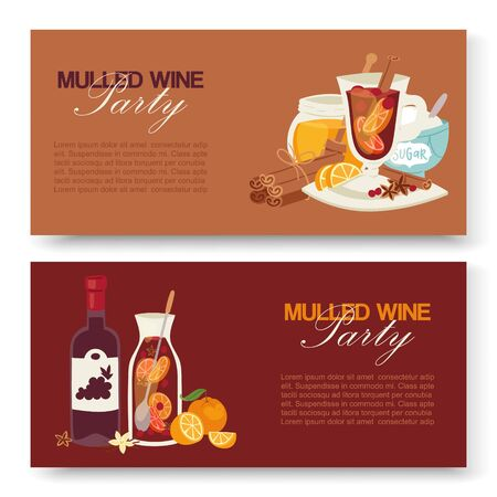Mulled wine winter drink vector banners. Alcohol beverage illustration with bottle of wine, glass with fruits, herbs, spices. Taste of Christmas. Vintage mulled wine party. Ilustração
