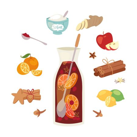 Mulled wine ingredients, recipe vector Christmas winey beverage. Punch drink, hot alcohol. Winebowl glass cocktail spices cinnamon, anise, citrus fruit, ginger and cookies. Winter alcohol beverage