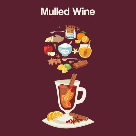 Mulled wine ingredients, recipe with glass and ingredients. Cinnamon stick, clove, lemon and orange slice. Isolated on dark red background. Vector color vintage illustration of hot mulled wine. Ilustracja