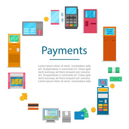 Payment methods vector concept with digital currency, cash money, bank system nfc technology and payment terminals. Pay cash or credit card method.