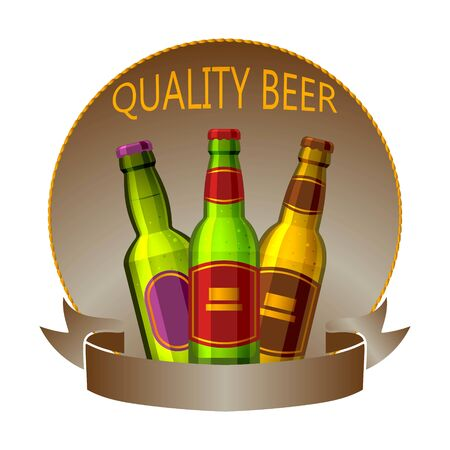 Craft beer bottles drink vector logo sign or badge for bar, pub, brewhouse or brewery. Premium quality beer logotype label. Brewing fest three bottles of ale badge design. Ilustracja