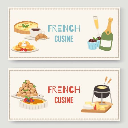 French cuisine traditional food vector illustration of two banners set. Delicious french meal for dinner or lunch, continental Frenchman gourmet cheese plate. Ilustracja