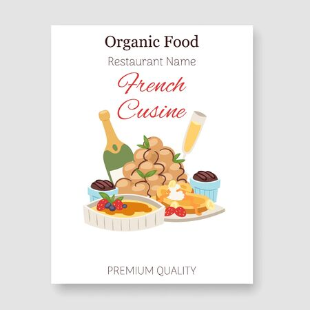 French restaurant organic food and cuisine vector illustration poster. National organic food of France. Gourmet frenchmen menu with champagne wine.