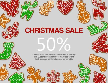 Christmas gingerbread sale vector illustration. Traditional christmas gingerbread snowmen, sock, deer and tree decoration and sweets. Design for New Year sale and discount.