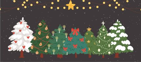 Christmas trees, firs with garlands and lights vector illustration. Winter holiday background. Christmas trees with snow, stars and shining balls. Great for New year cards. Ilustração