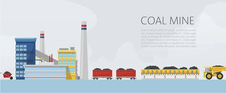 Coal mine factory vector illustration. Mining and mineral excavation equipment flat banner with carbon trucks transportation and industry.