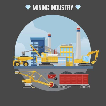Mining industry vector illustration. Excavator loaders, hydraulic pile drilling machines, tractors at mining industry construction site. Ilustracja