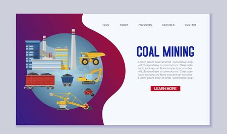 Coal mining web template. Miners transport and technique vector illustration. Mine extraction industry. Work equipment, transportation website landing page.  イラスト・ベクター素材