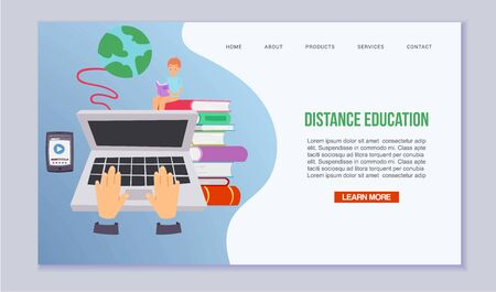 Distance education and learning vector illustration. Online courses and web school for children with laptop, mobile app and books. Study distance process. E-learning.
