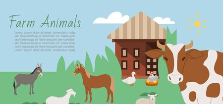 Farm animals and rural landscape background vector illustration. Cartoon cow, horse, goat with donkey and duck with chicken near house for farm animals. 向量圖像
