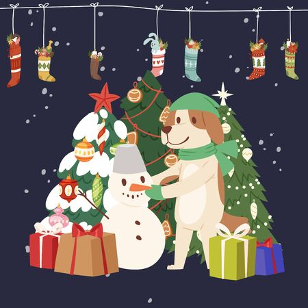 Winter Christmas card vector illustration with cartoon snowman and dog with christmas tree, gift boxes and garland of socks and presents. Иллюстрация