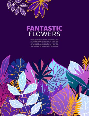 Floral fantastic flowers and leaves vector illustration. Ornament. Fantastic flower with leaves on dark violet background. Glowing fairy plants. Çizim